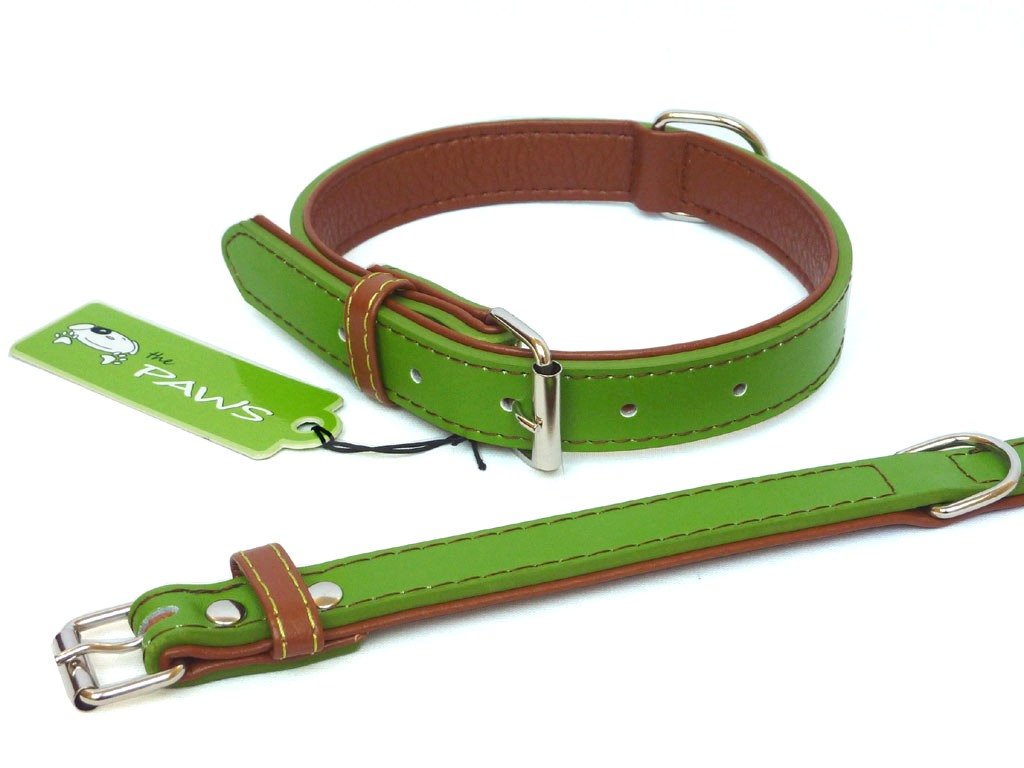 Fusion Leather Collar Lead - Lime