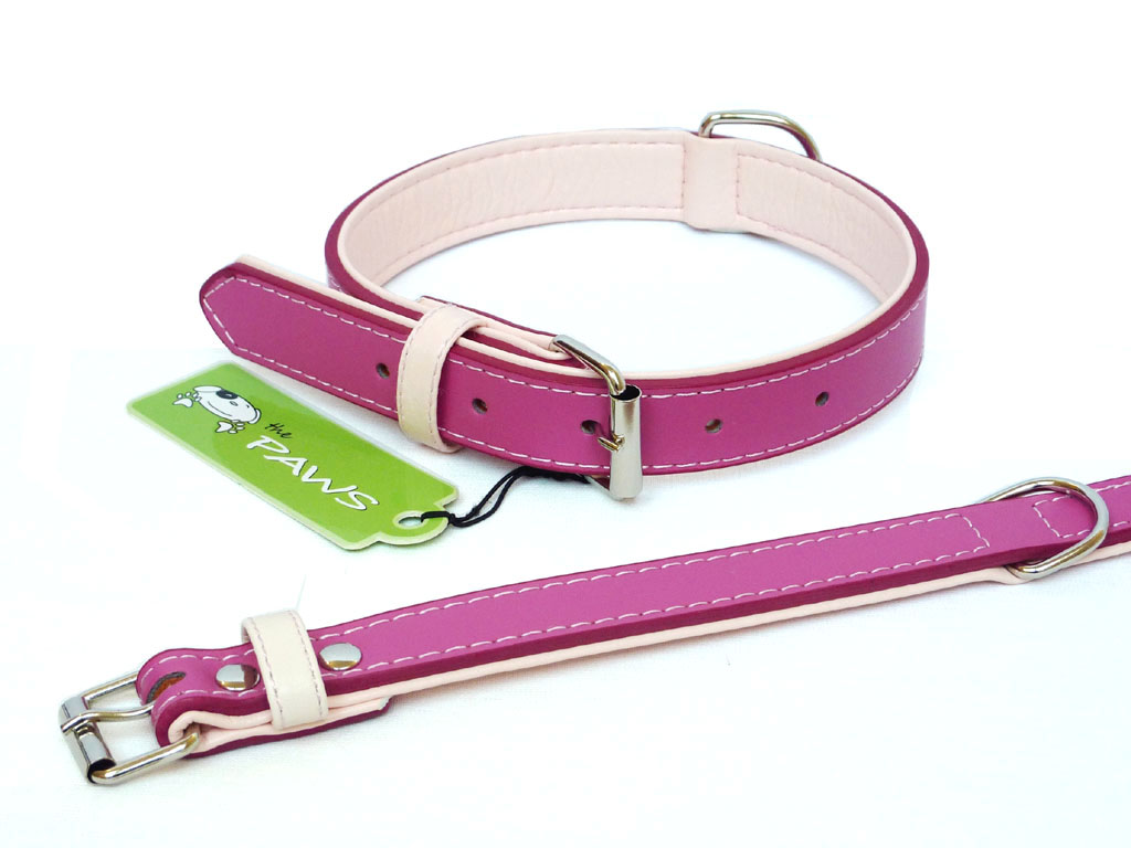 Fusion Leather Collar Lead - Pink